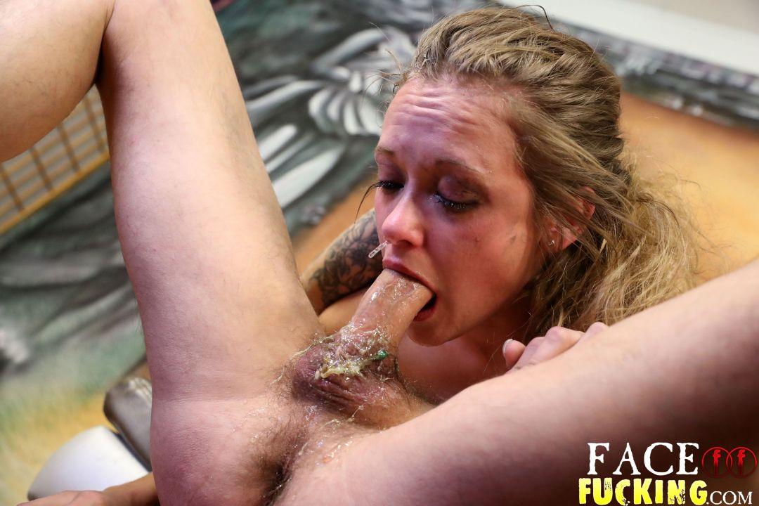 White Bitch Puking On Black Dick